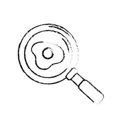 Figure delicious fried egg inside skillet pan vector
