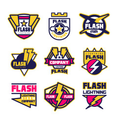 flash lightning company logo design template vector image