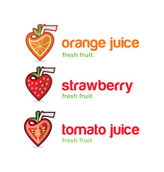 fruit juice logo set vector image