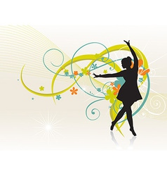 Girl dancing beautiful background vector image