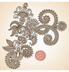 Hand draw line art ornate flower design vector image vector image