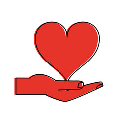 hand holding heart icon image vector image vector image