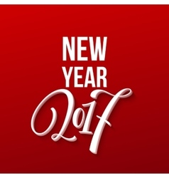 Happy new year 2017 christmas card text on red vector