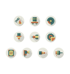 industrial equipment round flat color icons vector image vector image