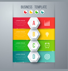 Infographics template four options with hexagon vector