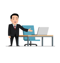 Job invitation male businessman in black suit vector