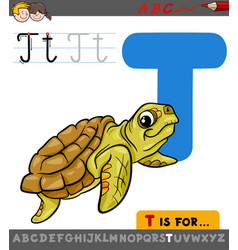 Letter t with cartoon turtle animal vector
