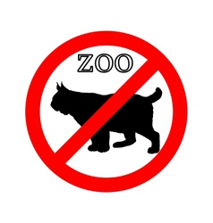 Lynx in zoo prohibited vector