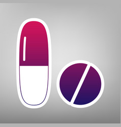 Medical pills sign purple gradient icon vector