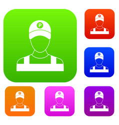 Parking attendant set collection vector