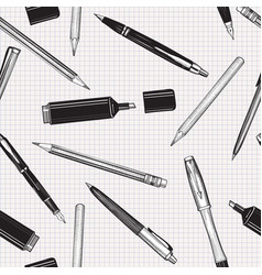 pen pencil set seamless pattern education vector image
