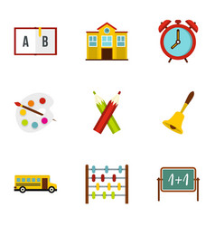 Primary school icons set flat style vector