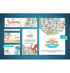 Set of corporate underwater ocean life templates vector