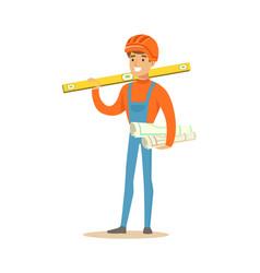 smiling engineer in orange safety helmet standing vector image vector image