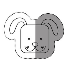 Sticker cute dog animal head expression vector