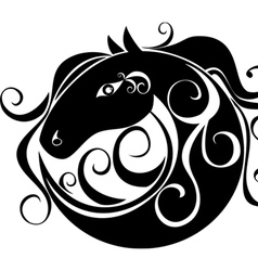 stylized image of a horses head in a circle vector image vector image