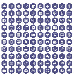 100 help desk icons hexagon purple vector
