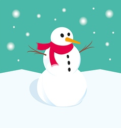 Snowman in winter xmas vector