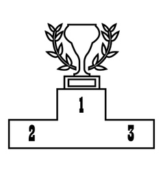 Prize podium with cup icon outline style vector