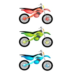 Three colors set of motorcycle icon vector