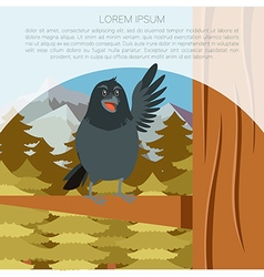 Happy raven on the tree winter flat background vector