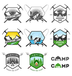 Set of vintage camping labels and badges vector image