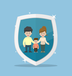 Family character inside the insurance shield vector