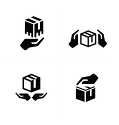 Hand and box icon vector