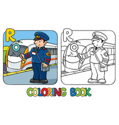 Railroader coloring book alphabet r profession vector