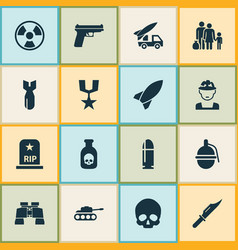 Warfare icons set collection of panzer rocket vector