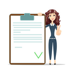 businesswoman with checklist vector image