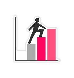 Stylish sticker on paper people goes chart vector