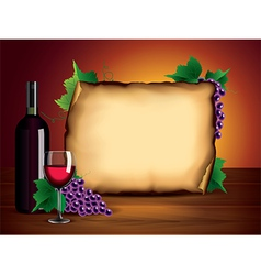 Wine bottle paper background vector