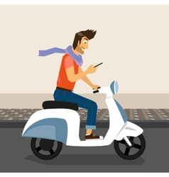 Handsome guy rides a bike vector image