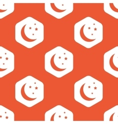 Orange hexagon night pattern vector