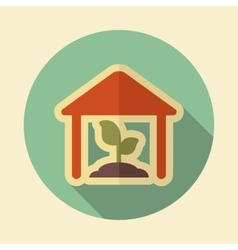 Greenhouse retro flat icon with long shadow vector