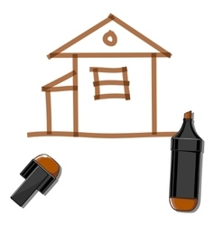 House and brown marker vector