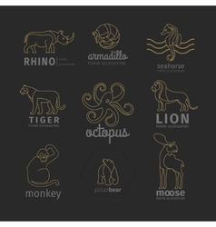 Outline linear animals logos set vector