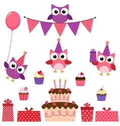 Party owls pink set vector
