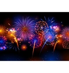 Realistic colorful Fireworks vector image