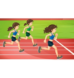 Three women running in the track vector