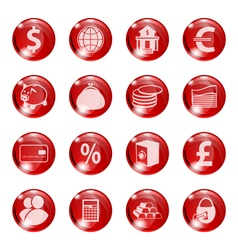 Set of icons of red color on a subject bank vector