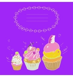 Depicting three cakes and a framework vector