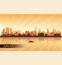 Ajman city skyline silhouette background vector