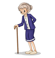 An old woman using a wooden cane vector