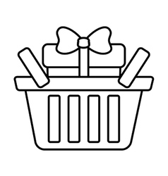 Basket shop with gift box ribbon outline vector