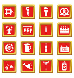 beer icons set red vector image