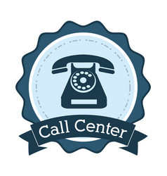 Call center telephone line support badge vector
