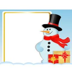 Christmas card with a snowman and gifts vector image vector image