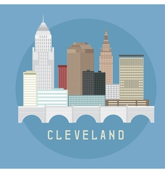 Cleveland ohio usa flat design of skyline vector
